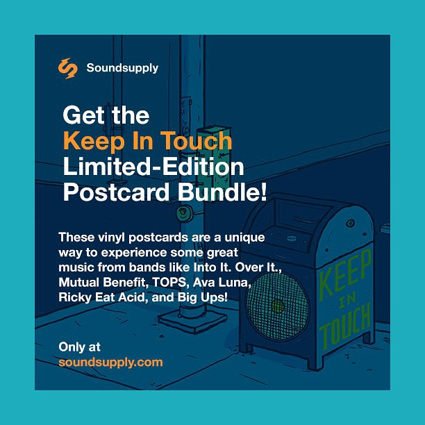 New bundle from the #KeepInTouch postcard series! Digital & postcard vinyl options featuring rare and unreleased songs from #intoitoverit, #mutualbenefit, #rickyeatacid, #TOPS, #bigups, and #avaluna! Limited supply. Check it out now at www.soundsupply.com