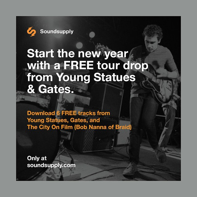 Free music from #YoungStatues, #Gates and #TheCityOnFilm in the newest Tour Drop at www.soundsupply.com! This amazing tour starts January 8th. Get tickets now and start your new year out right!
